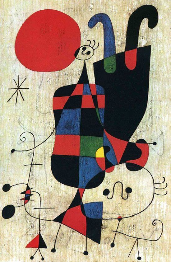 Figures and Dog in front of Sun, 1949 by Joan Miro