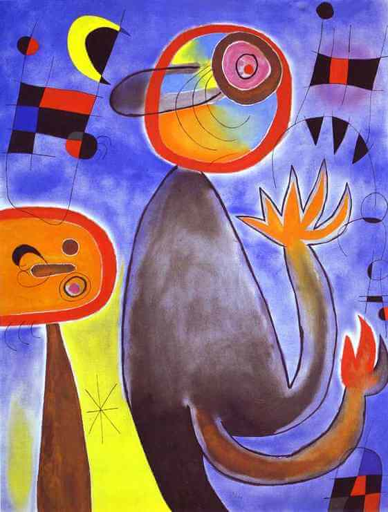 Ladders Cross the Blue Sky in a Wheel of Fire, 1953 by Joan Miro
