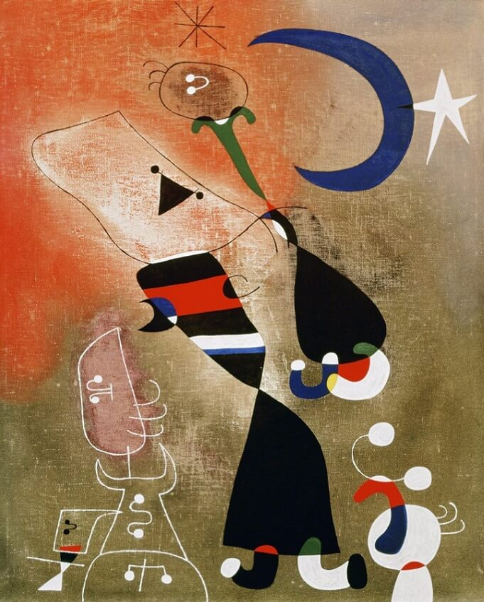 Women and Bird in the Moonlight, 1949 by Joan Miro